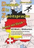 63 Wort-/Bildkarten zu Deutsch als Zweitsprache, lernen mit Musik