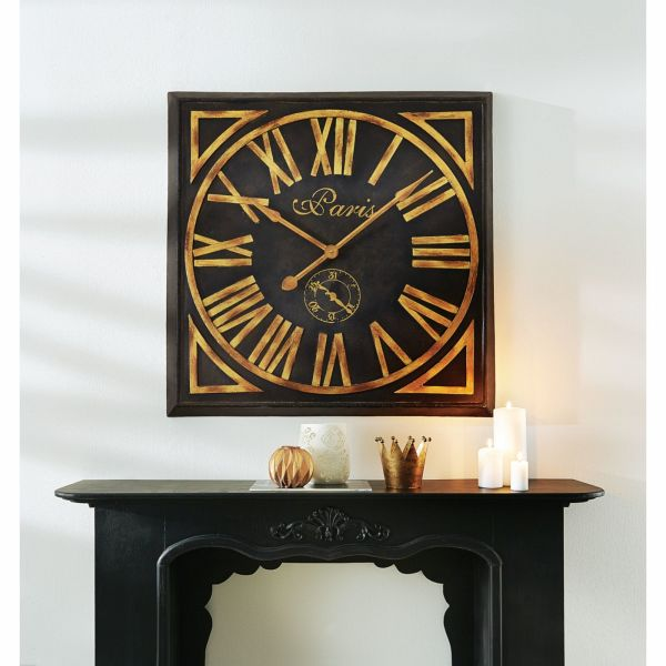 miavilla wanduhr paris schwarz goldfarben. Black Bedroom Furniture Sets. Home Design Ideas