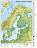 Skandinavien und Baltikum physisch; Stiefel Wandkarte Kleinformat Scandinavia and the Baltic Countries