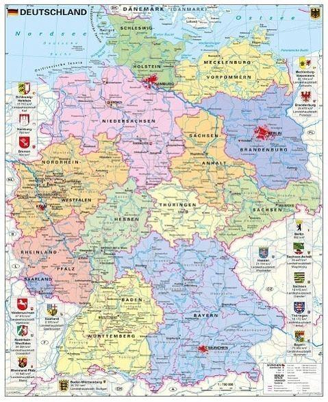 Stiefel Wandkarte Grossformat Deutschland Politisch Mit Wappen Von