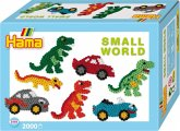 Hama 3502 - Bügelperlen Midi - Geschenkpackung, kleine Welt Dinosaurier & Auto blau