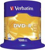 1x100 Verbatim DVD-R 4,7GB 16x Speed, matt silver