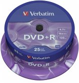 1x25 Verbatim DVD+R 4,7GB 16x Speed, matt silver