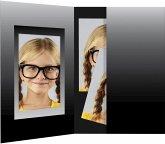 1x100 Daiber Passbildmappen schwarz/silber 36x50 mm