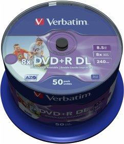 1x50 Verbatim DVD+R Double Layer 8x Speed, 8,5GB wide printable