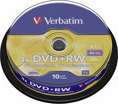1x10 Verbatim DVD+RW 4,7GB 4x Speed, matt silve...