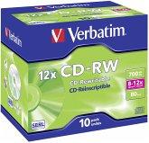 1x10 Verbatim CD-RW 80 / 700MB 8x - 12x Speed, Jewel Case