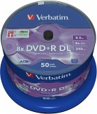 1x50 Verbatim DVD+R Double Layer 8x Speed, 8,5GB matt silver