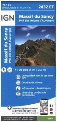 IGN Karte, Carte de randonnée (et plein air) Massif du Sancy - PNR des Volcans d'Auvergne
