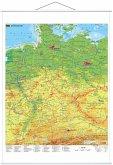 Stiefel Wandkarte Großformat Deutschland physisch laminiert mit Metallleisten