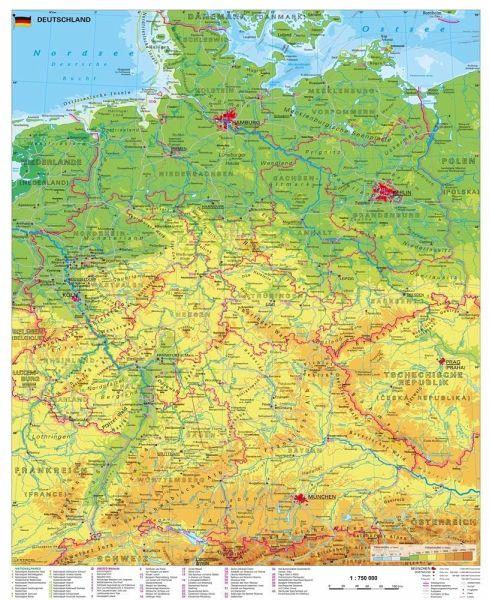 karte physisch deutschland Stiefel Wandkarte Großformat Deutschland physisch von Heinrich