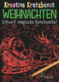 Weihnachten: Set mit 10 Kratzbildern, Anleitungsbuch und Holzstift / Kreative Kratzkunst Bd.4 - Poitier, Anton