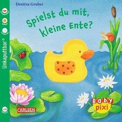 Eines der wunderbaren Baby Pixi Bücher: Spielst du mit, kleine Ente? Ideal als Babybuch auf Grund des Softcoverformats.