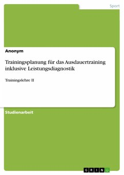 Trainingsplanung für das Ausdauertraining inklusive Leistungsdiagnostik (eBook, PDF)