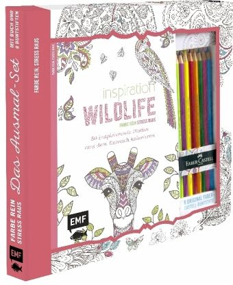 kreativ set farbe rein stress raus inspiration wildlife 50 inspirierende buch. Black Bedroom Furniture Sets. Home Design Ideas
