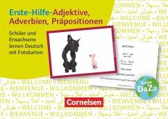 Erste-Hilfe-Adjektive, Adverbien, Präpositionen: Schüler und Erwachsene lernen Deutsch mit Fotokarten