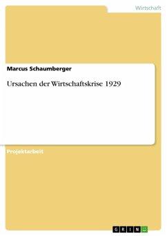 Ursachen der Wirtschaftskrise 1929 (eBook, PDF)