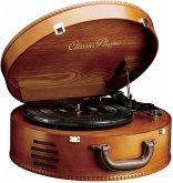 Classic Phono TT-34 Holzgehäuse Koffer-Plattenspieler (USB-Anschluss, Riemenantrieb, 2x eingebaute Lautsprecher)