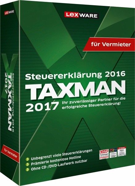 taxman 2017 f r vermieter steuererkl rung 2016 software. Black Bedroom Furniture Sets. Home Design Ideas