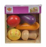 Eichhorn 100003735 - Holzbox mit Gemüse, enthält Karotte, Aubergine, Tomate, Zwiebel, Pilz, 13x12,5x5cm, 6-tlg.