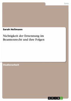 Nichtigkeit der Ernennung im Beamtenrecht und ihre Folgen (eBook, PDF)