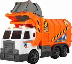 Dickie Toys 203308369 - Garbage Truck, Müllauto, Müllabfuhr mit Mülltonne, batteriebetrieben, 46 cm