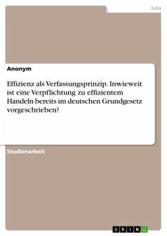 Effizienz als Verfassungsprinzip. Inwieweit ist eine Verpflichtung zu effizientem Handeln bereits im deutschen Grundgesetz vorgeschrieben? (eBook, ePUB)