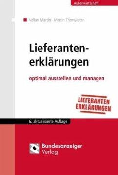 Lieferantenerklärungen - Martin, Volker; Thorwesten, Martin