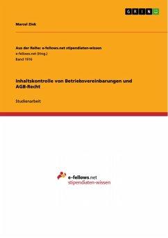 Inhaltskontrolle von Betriebsvereinbarungen und AGB-Recht (eBook, PDF)