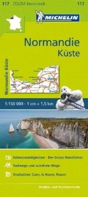 Michelin Karte Normandie Küste; Côte normande de Dieppe aux plages du débarquement