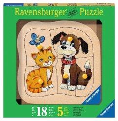Ravensburger 03233 - Hund und Katze, Holzpuzzle...