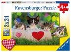 Ravensburger 07801 - Verschlafene Kätzchen, Puzzle 2 X 24 Teile
