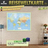 "Welt Reiseweltkarte foliert und beleistet inkl. Magnetkugeln ""Neoballs"" (54 Backdiscs)"