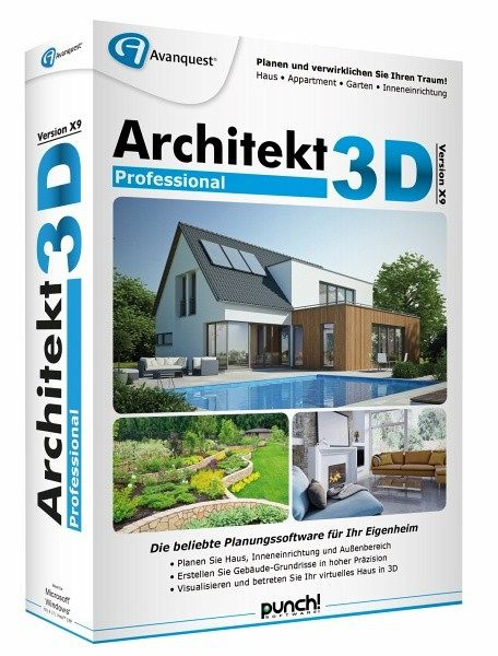 architekt 3d x9 professional planungssoftware f r ihr eigenheim software b. Black Bedroom Furniture Sets. Home Design Ideas