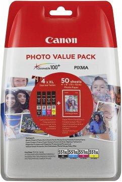 Canon CLI-551XL Photo Value Pack C/M/Y/BK PP-201 10x15 cm 50 Bl.