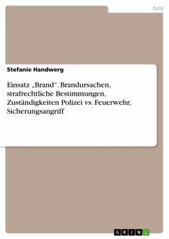 """Einsatz """"Brand"""". Brandursachen, strafrechtliche Bestimmungen, Zuständigkeiten Polizei vs. Feuerwehr, Sicherungsangriff (eBook, PDF)"""