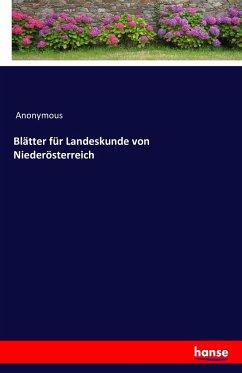 Blätter für Landeskunde von Niederösterreich
