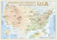 Bourbon-Rye-Whiskey Distilleries in USA - Tasting Map 34x24cm