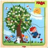 HABA 302529 - Holzpuzzle Lieblingsjahreszeit, 22 Teile