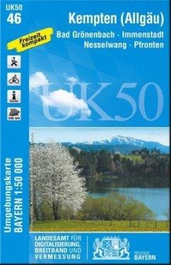 Topographische Karte Bayern Kempten-Allgäu