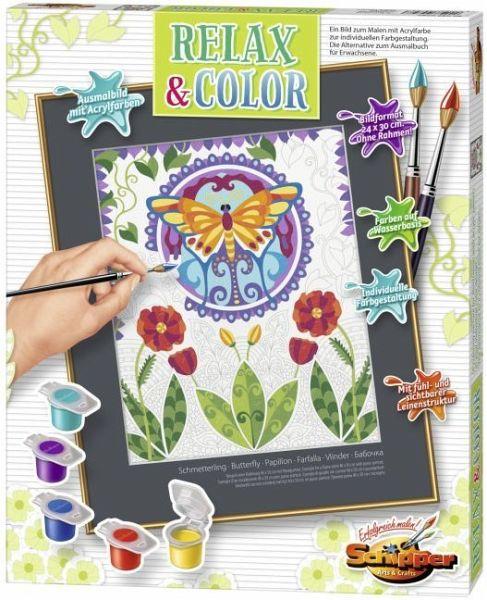 Schmetterling / Malen nach Zahlen, Relax & Color, Ausmalbild mit  Acrylfarben (Mal-Sets)