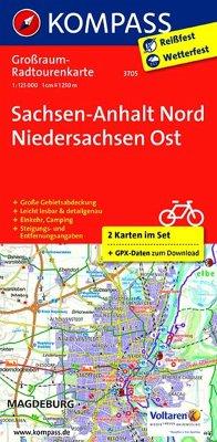 Kompass Großraum-Radtourenkarte Sachsen-Anhalt Nord - Niedersachsen Ost, 2 Bl.