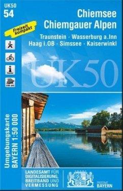 Topographische Karte Bayern Chiemsee Chiemgauer Alpen
