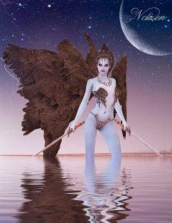 Fantasy Notizbuch: Aequae, die Schattenkriegerin - weiße Seiten mit Eckmotiv - Sternenfeuer, Samuriel