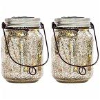 miaVILLA Solarleuchten-Set, 2-tlg. Fireflies Silberfarben