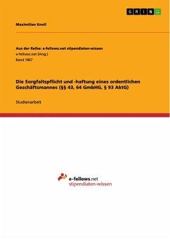 Die Sorgfaltspflicht und -haftung eines ordentlichen Geschäftsmannes (§§ 43, 64 GmbHG, § 93 AktG) (eBook, ePUB)