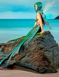 Fantasy Notizbuch: Elandra, die Meerjungfrau - weiße Seiten mit Eckmotiv - Sternenfeuer, Samuriel