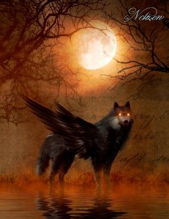Fantasy Notizbuch: Schattenwolf - weiße Seiten mit Eckmotiv - Sternenfeuer, Samuriel
