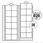 Ergänzungsblätter für alle Premium-Münzalben für Münzen bis Durchmesser 28 mm, 2er Pack