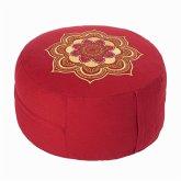 Meditationskissen Rot mit LOTUS MANDALA-Stickerei